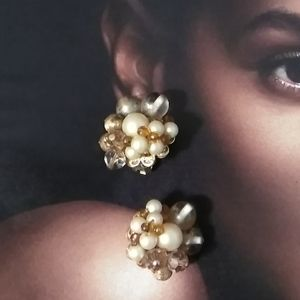 VINTAGE Faux Pearl & Glass Earrings